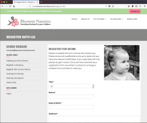 Blossom Nannies website