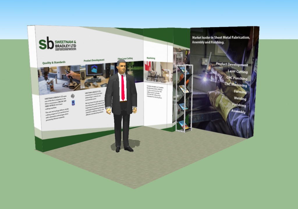 A small exhibition stand utilising a system-based approach with maximum graphics impact.
